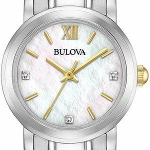 Bulova Diamond Quartz Watch Silver 26mm!
